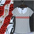 Patrones Geométricos de la moda de diamantes de imitación Mujeres de la camiseta de Algodón 95% O cuello de manga corta chicas sexy elegante camiseta de Verano femme
