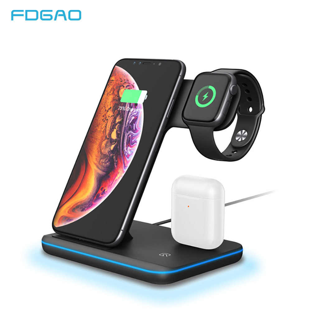 15W Qi soporte de cargador inalámbrico para Iphone 11 Pro X XS MAX XR 8 Plus estación de carga rápida para Apple Watch 4 3 2 1 Airpods