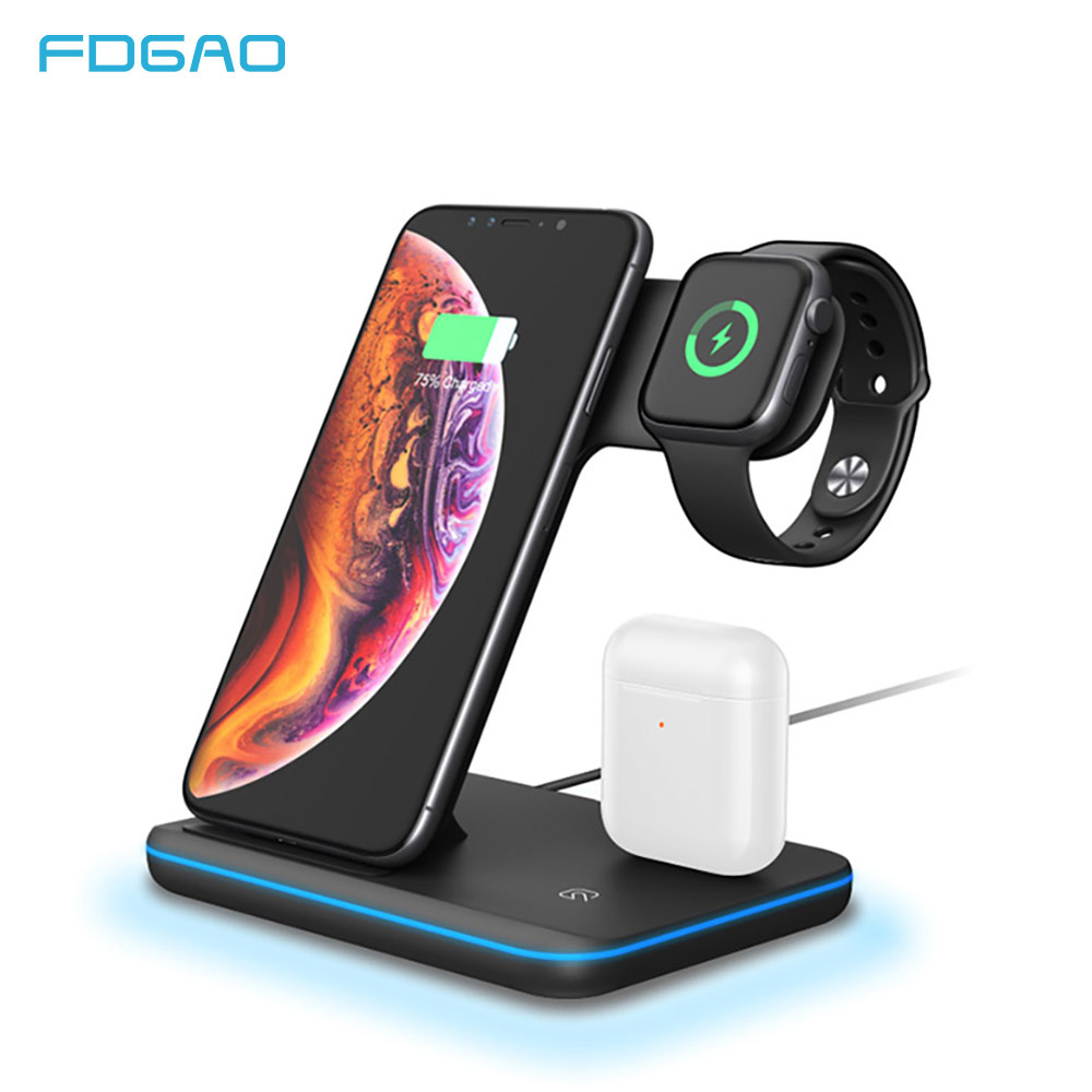 15W Qi Wireless Charger Stand For Iphone X XS MAX XR 8 Fast Charging Dock Station For Apple Watch 4 3 2 1 Airpods Xiaomi Airdots
