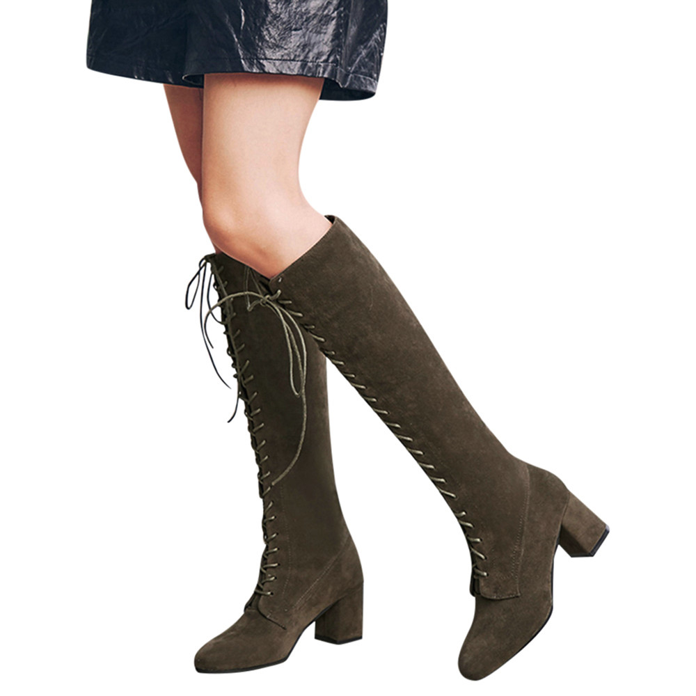 New Flock Leather Women Over The Knee Boots Lace Up Sexy High Heels Women Shoes Lace Up Winter Boots Warm Size 35 43