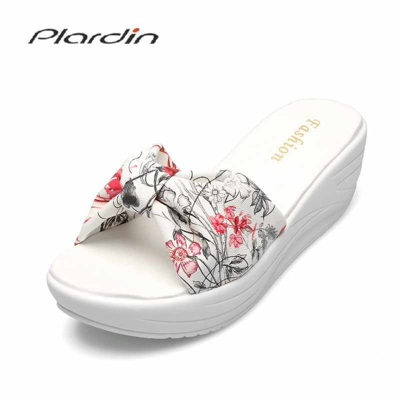 Plardin cuero genuino Bohemia verano Casual ocio mujeres plataforma sandalias cuñas playa Zapatos Mujer Zapatos Zapatillas