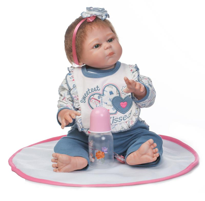 цены 22inch Full Silicone Baby Dolls Reborn Bebe Reborn Toys for Children Lifelike Newborn Girl Babies Alive Doll Child Bath Boneca