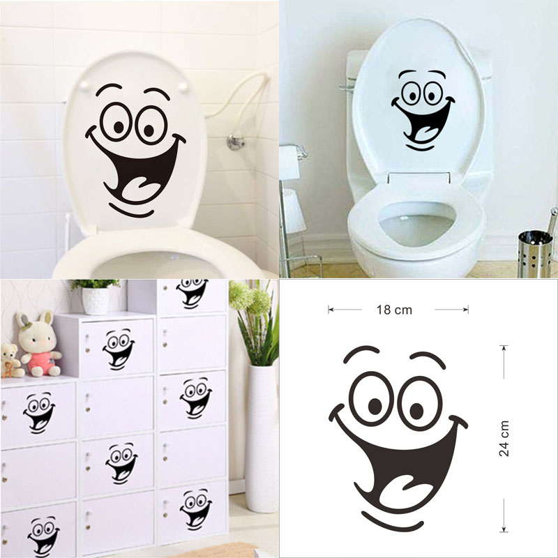 2017 Arrival Wall Sticker Removable Smile Toilet Seat Home Art Decor Perlisonality Style Beautiful Life
