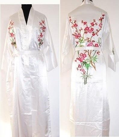 2014 New White Women s Bathrobe Kaftan Silk Robe Gown Embroidered Sleepwear  Kimono Gown Dropshipping S M L XL XXL XXXL NS0025 a9459e1fa