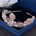 Европейский Барокко Большой Розовый Кристалл Тиара свадьба невеста ювелирные изделия аксессуары этап подиуме