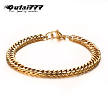wholesale stainless steel men gold fashion bracelet male cuban link chain on hand chains personalized mens bracelets jewelry