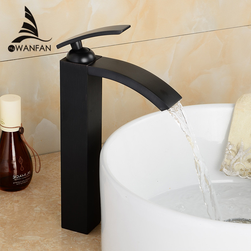 Basin Faucets Brass Oil Rubbed Bronze Bathroom Faucet Tall Single Handle Black Square Deck Mounted Sink Mixer Water Tap LH-16989 oil rubbed bronze square toilet paper holder wall mounted paper basket holder