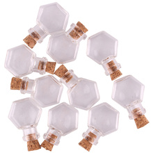50 adet Şeffaf altıgen Cam Şişe Kavanoz Şişeleri Isteyen Şişe Sevimli Sanat Şişeleri Mantar Tıpa DIY zanaat hediye
