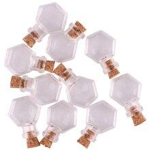 50 stks Transparante hexagon Glas Fles Potten Flesjes Willen Fles Leuke Art Flessen met Kurken Stopper DIY craft gift