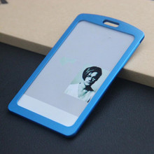 New Arrival 1pcs Blue Color Aluminum Alloy Metal Vertical ID Badge Holder Bank Credit Card Bus Card Case Holders Stationery