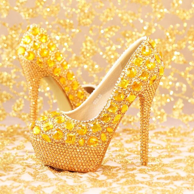 Online Shop Super High Heels Shoes Luxury Golden Diamond Bride Wedding Waterproof Round Women For Party Evening Dress Big Hot Sale