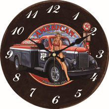 hot deal buy shabby chic sexy girl car design clocks home decor office cafe kitchen wall watches silent clocks art vintage large wall clocks