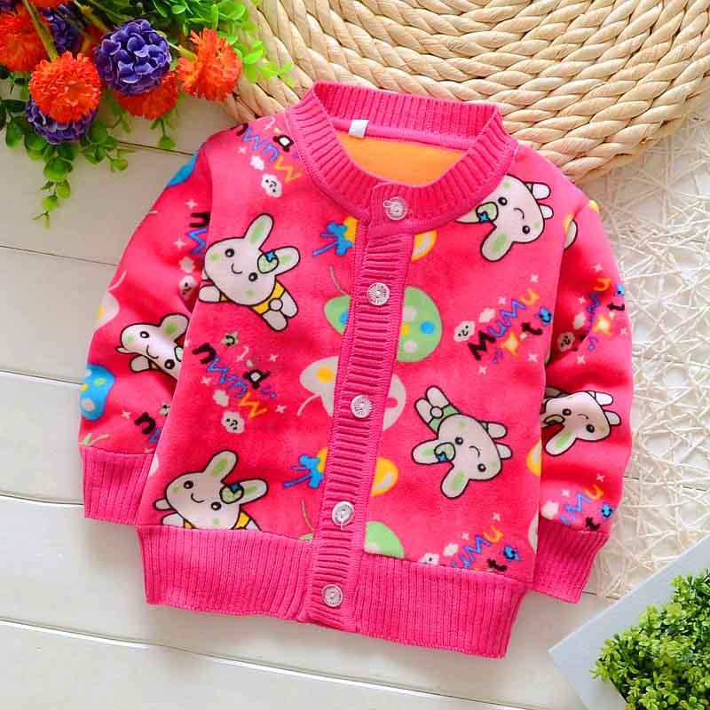 BibiCola 2017 children sweater kid warm clothing outerwear Baby boys girls cartoon winter sweater Baby thick velvet 0-2 years