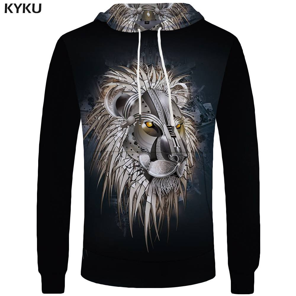 KYKU Brand Lion Hoodies Men Punk Sweatshirt Gothic Pocket Animal Sweatshirts Rock Hoddie Mens Clothing 3d Hoodies Cool Hip Hop