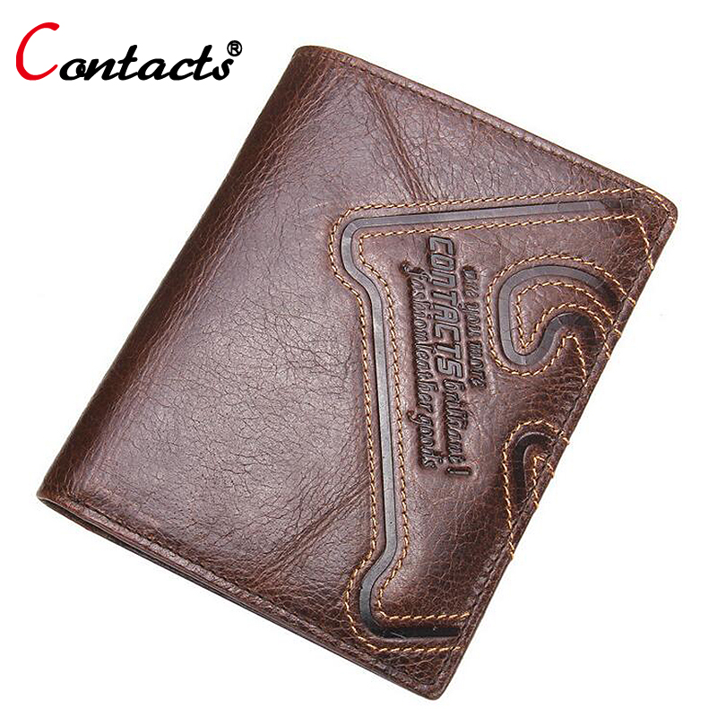 CONTACT'S Men Wallet Genuine Leather Wallet Short Purses Male Small Money Bag Card Holder Designer Wallets Men Famous Brand 2015 new male baridian us 100 dollar bill fake money short purses billeteras hombre women s wallets classic flag designer