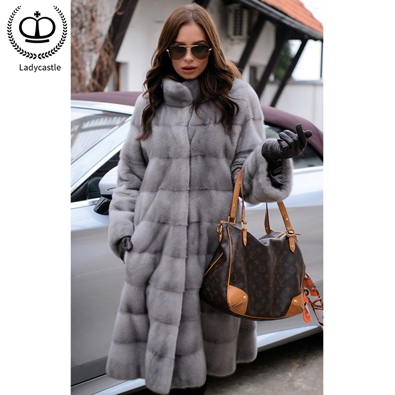 Mink-Fur-Coats Nature Collar Winter Women for Slim Warm-Stand Tops MKW-228