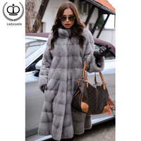 2019 Fashion Mink Fur Coats For Women Real Fur Jackets Slim Overcoats Warm Stand Collar Nature Mink Capped Winter Tops MKW 228