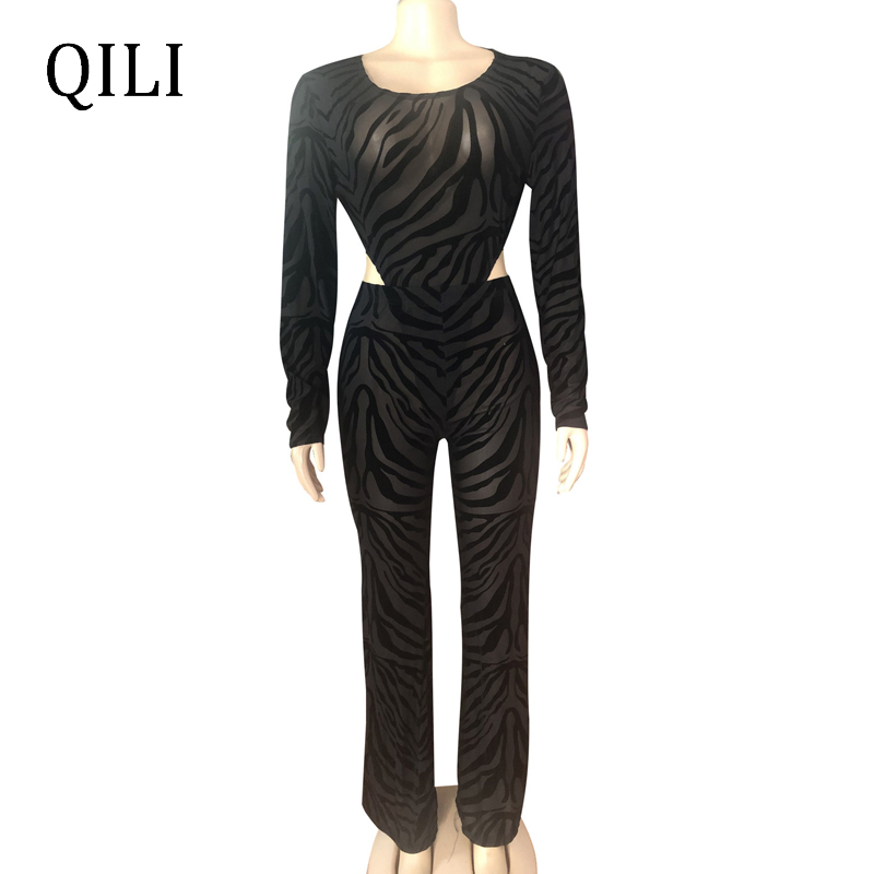 QILI Black Mesh Sexy Club Jumpsuits Long Sleeve Two Piece Set Bodysuis Pants Jumpsuit Nightclub Wear 2 Piece New Jumpsuits in Jumpsuits from Women 39 s Clothing