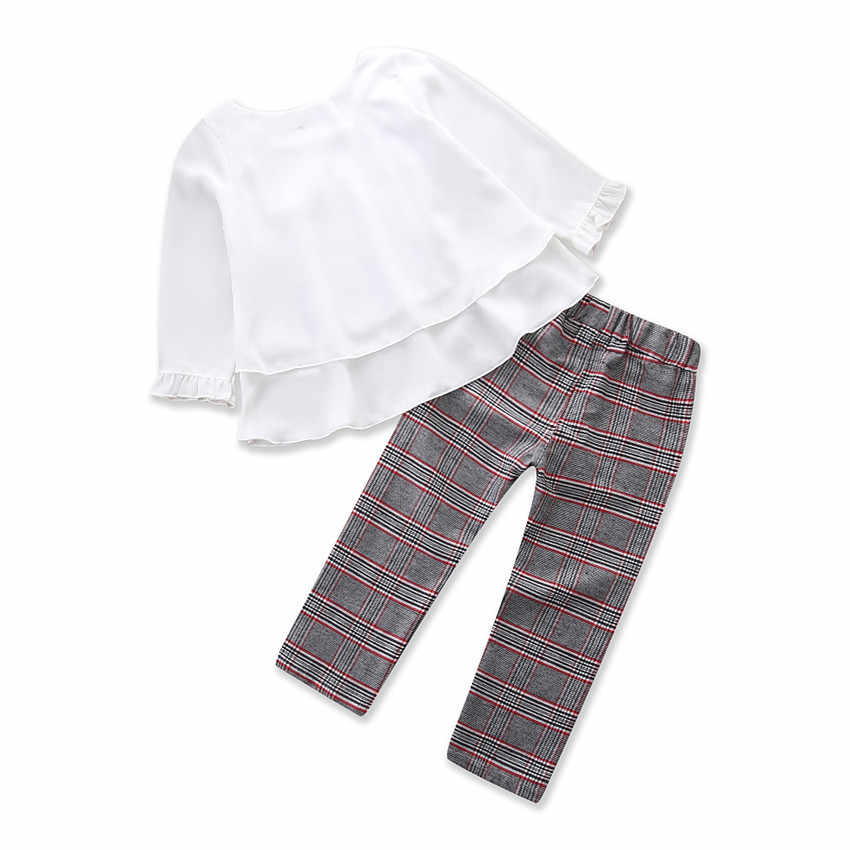 f5aee1101e2 ... Toddler Baby Kids Girls Outfits Ruffle T Shirt Tops+Checked Pants  Clothes Set Long Sleeves ...