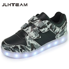 2017 New Luminous Sneakers 25-37 Size USB Basket Led child Shoes With Light Up Kids sole Children's Glowing Shoe enfant for Boys
