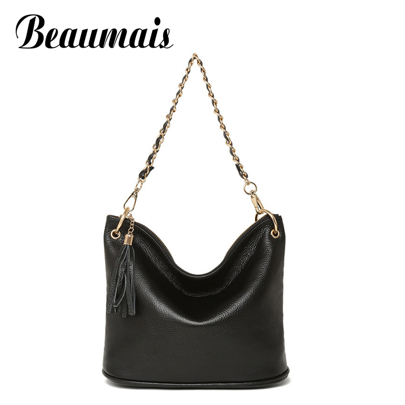 ФОТО Beaumais Hot Sale Genuine Leather Women Leather Handbags Chain Tassel Messenger Bags Shoulder Crossbody Bags For Women DB5825