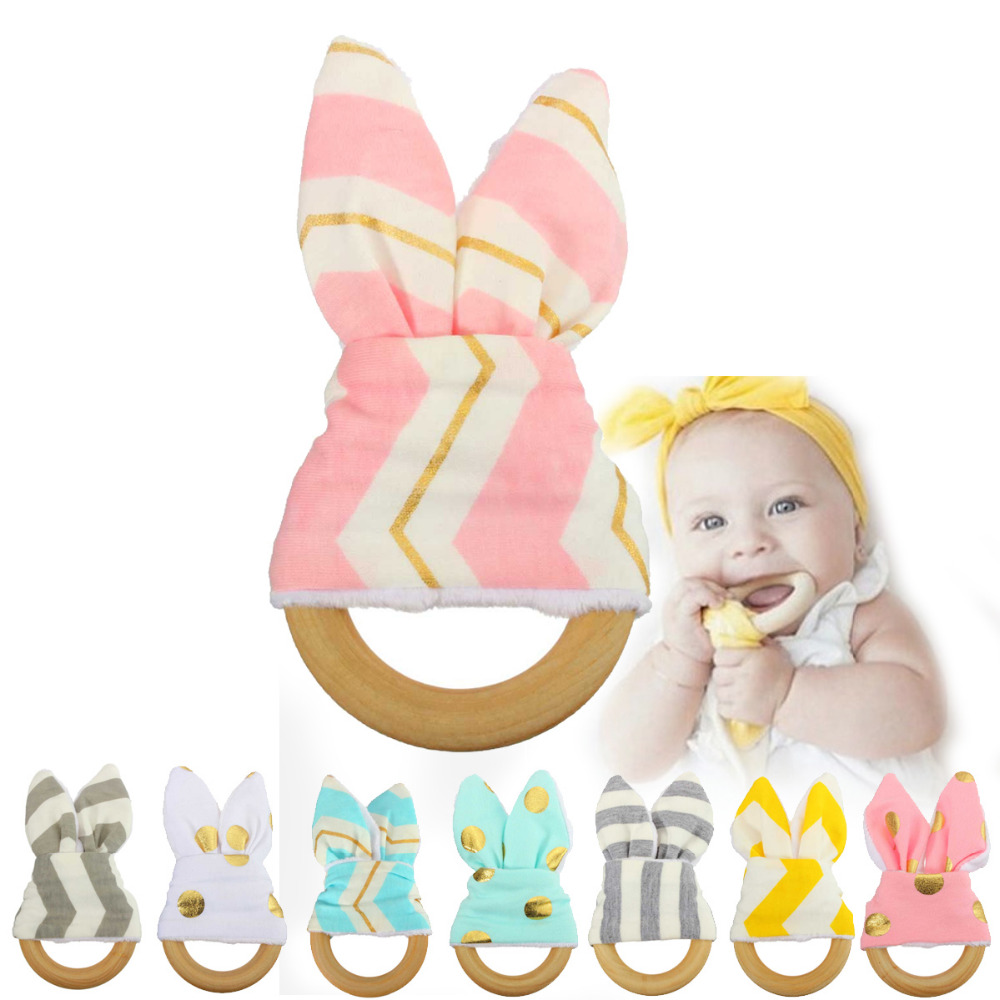2017 Cute Cartoon font b Baby b font Ring Teether Natural Wood Circle with Fabric Wooden