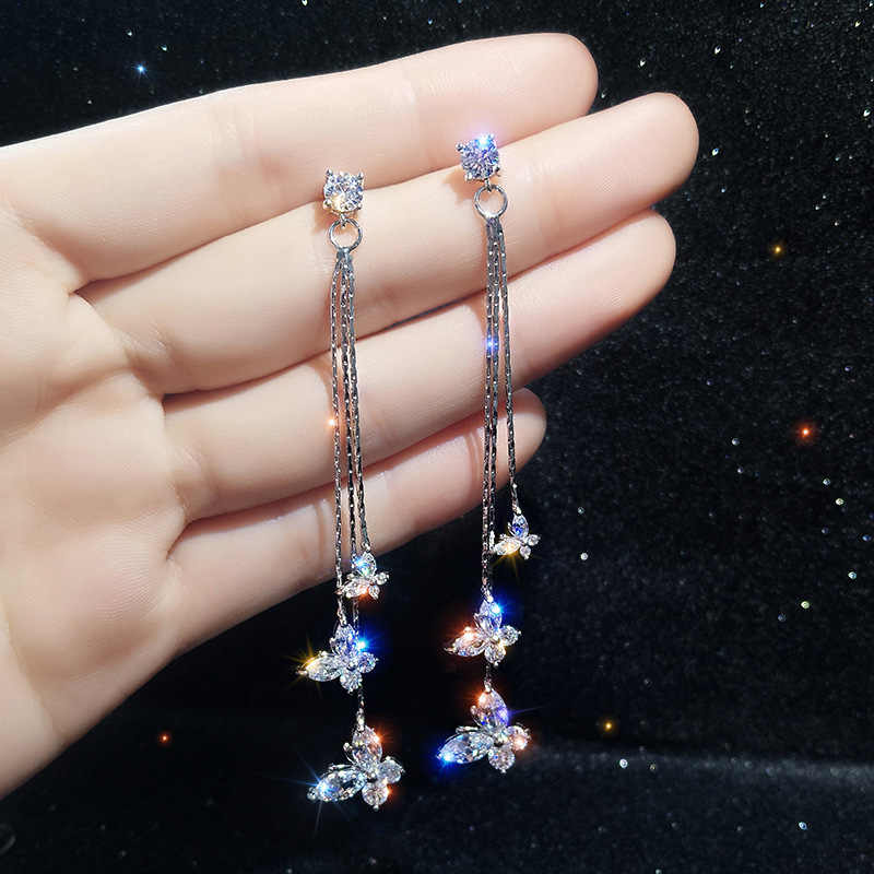 2019 New  Fashion  Long Pendant  Alloy Trendy Women Dangle Earrings Tassel Earrings Butterfly Super Fairy Jewelry For Female