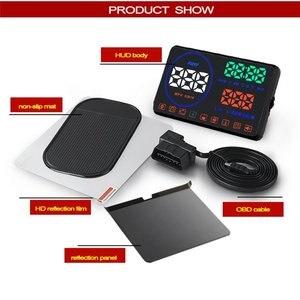 Image 5 - WiiYii M9 wyświetlacz samochodowy HUD 5.5 Cal wyświetlacz parametrów wozu na szybie OBD2 wyświetlacz danych jazdy samochodem prędkość RPM zużycie paliwa Alarm bezpieczeństwa