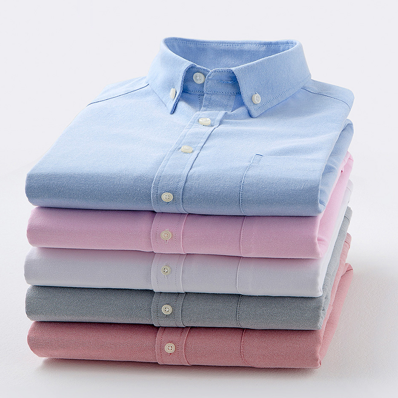 2017 Men's Long-Sleeve Oxford Dress Shirt with Single Chest Pocket Business Casual Solid/pinstripe Slim Fit Button Down Shirt