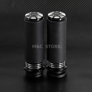 """Image 2 - Motorcycle Accessories 1"""" Electric Burst Handlebar Hand Grips Black For Harley Touring Dyna Softail Custom For Honda For Yamaha"""