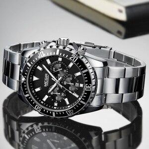 Image 3 - Megir Men Watch Sport Stainless Steel Analog Quartz Wristwatch Multifunction Chronograph Relojes Masculino Hombre Clock man 2018