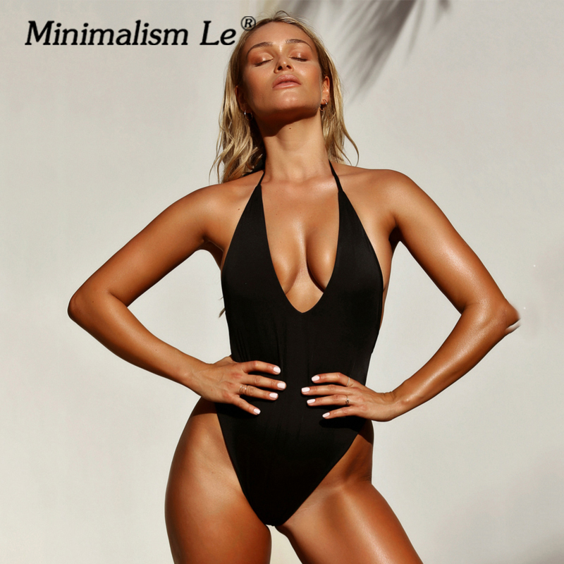 Minimalism Le <font><b>One</b></font> <font><b>Pieces</b></font> <font><b>Swimwear</b></font> <font><b>Women</b></font> <font><b>2019</b></font> New Beach Wear <font><b>Sexy</b></font> Bandage <font><b>Swimsuit</b></font> Solid Retro Monokini Female Bathing Suit image