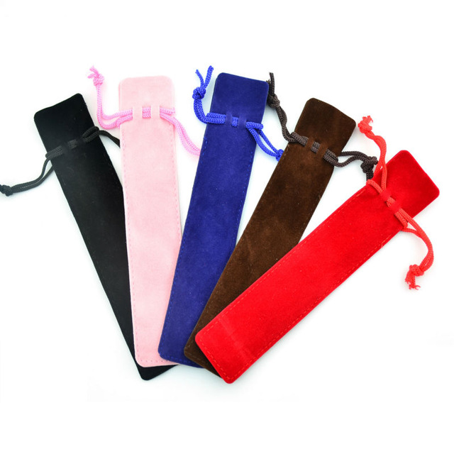 20pcs/lot Velvet Single Pencil Bag Pen Pouch Holder  Pen Case With Rope For Rollerball /Fountain/Ballpoint Pen 6836