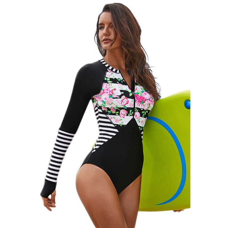 Sports & Entertainment Womens Plus Size Rashguard Turtleneck Zip Front Padded Surfing Swimsuit Boho Floral Stripes Patchwork Short Sleeves Bathing Suit