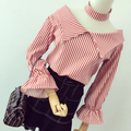 Women Slash V Neck Stripe Blouse Shirts with Choker Female Stylenanda Vintage Spring Summer Sexy Flare Sleeve Tops Good Quality