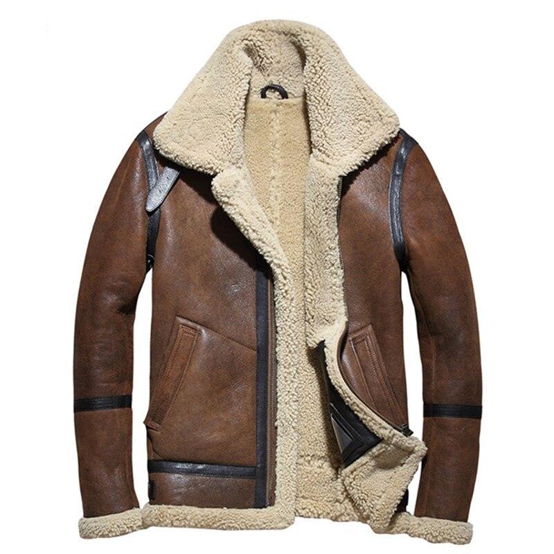 2018 de los hombres B3 bombardero chaqueta Plus tamaño XXXXL invierno grueso militar ruso genuino abrigo de piel de envío gratuito