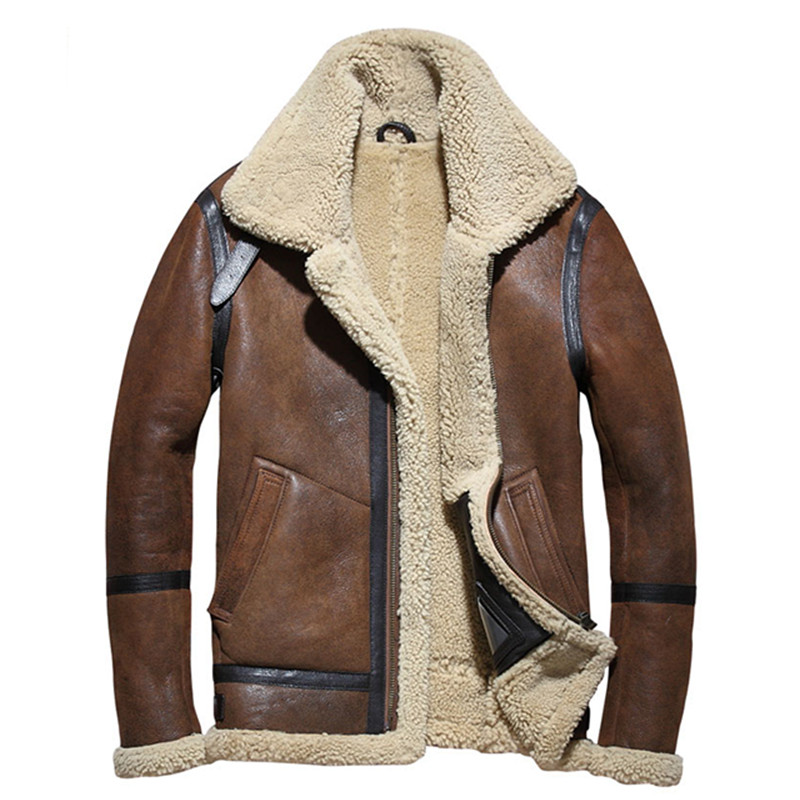 2019 Brown Men B3 Bomber Shearling Jacket Plus Size XXXXL Winter Thick Russian Military Genuine Shearling Coat FREE SHIPPING