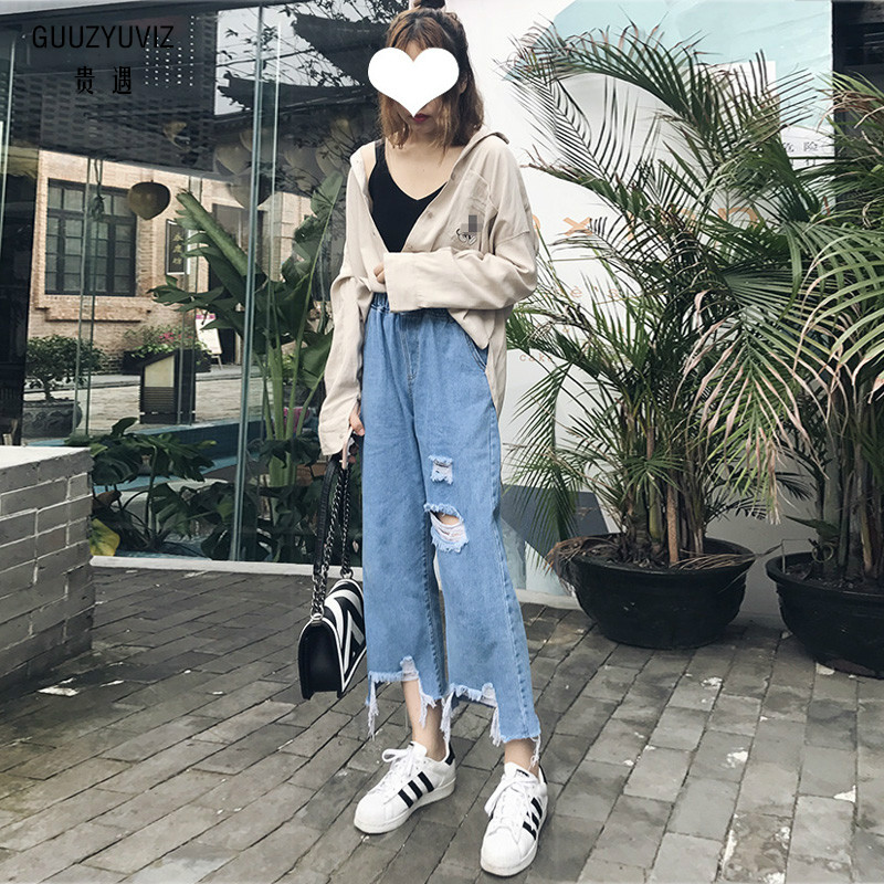 Guuzyuviz 3xl Plus Szie Casual Ripped Jeans For Women Tassel Hole Ripped Vintage High Waist Cotton Baggy Pants Be Novel In Design Women's Clothing Jeans