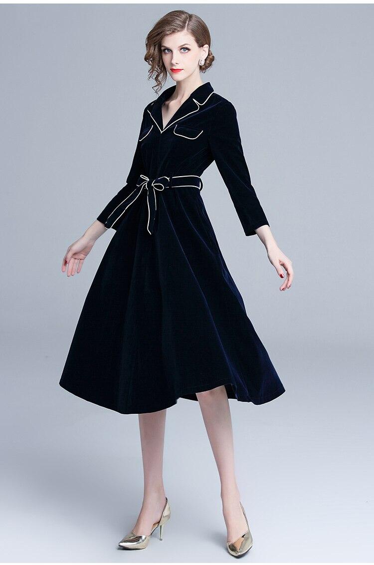 Automne hiver grande robe Swing femmes velours Patchwork manches longues col cranté robe décontracté manches longues ceintures robe Vestidos - 4