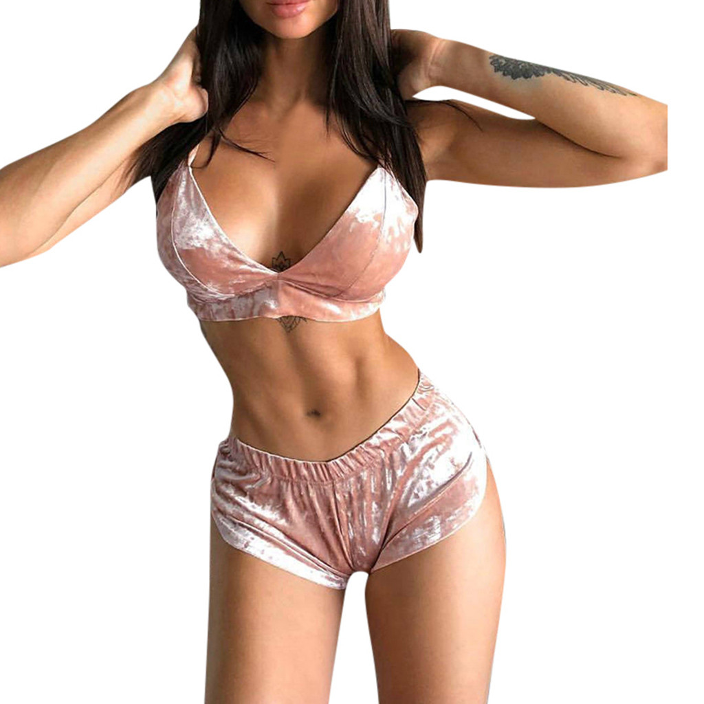 Design Solid Round Neck For Womens Solid Color 2 Pieces Tops Chest Pad With Short Pants Sets #G40