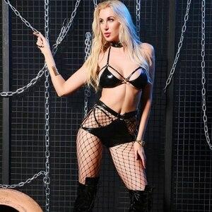 Image 5 - Conjunto de lingerie sexy de couro, feminino, aparência molhada, sutiã, quente, erótico, fantasia, micro biquíni, feminino, fetiche, pvc, clube