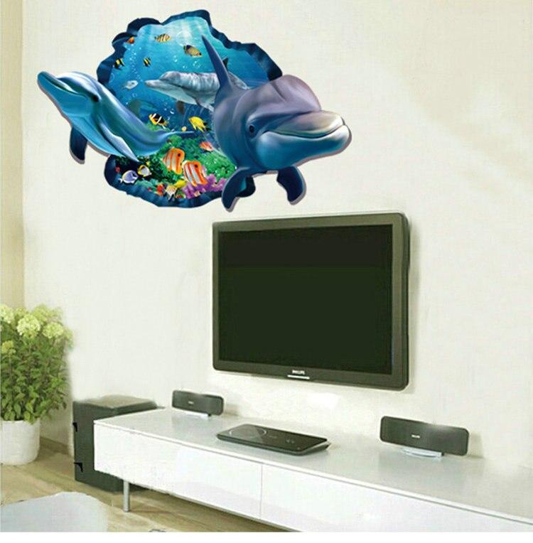 Unterwasser Fisch Dolphin 3d Lebendige Fenster Wandaufkleber DIY Wandtattoos Badezimmer Wohnzimmer Schlafzimmer Dekoration Poster