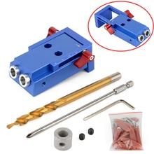 1 Zestaw Mini Kieszeni Dziura Jig Kit + Śrubokręt + Krok Wiertło + Klucz z Pudełkiem Dla Narzędzia Do Obróbki Drewna