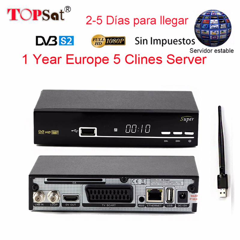 Satellite Receiver V8 Super DVB-S2 with 1 Year Europe Cccam 5 clines Full HD 1080P and USB WIFI Spain French UK Germany
