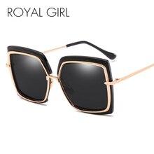 ROYAL GIRL 2019 Luxury Square Sunglasses Women Oversized Vintage Brand Designer Glasses Female Flat Retro Eyewear UV400 ss174