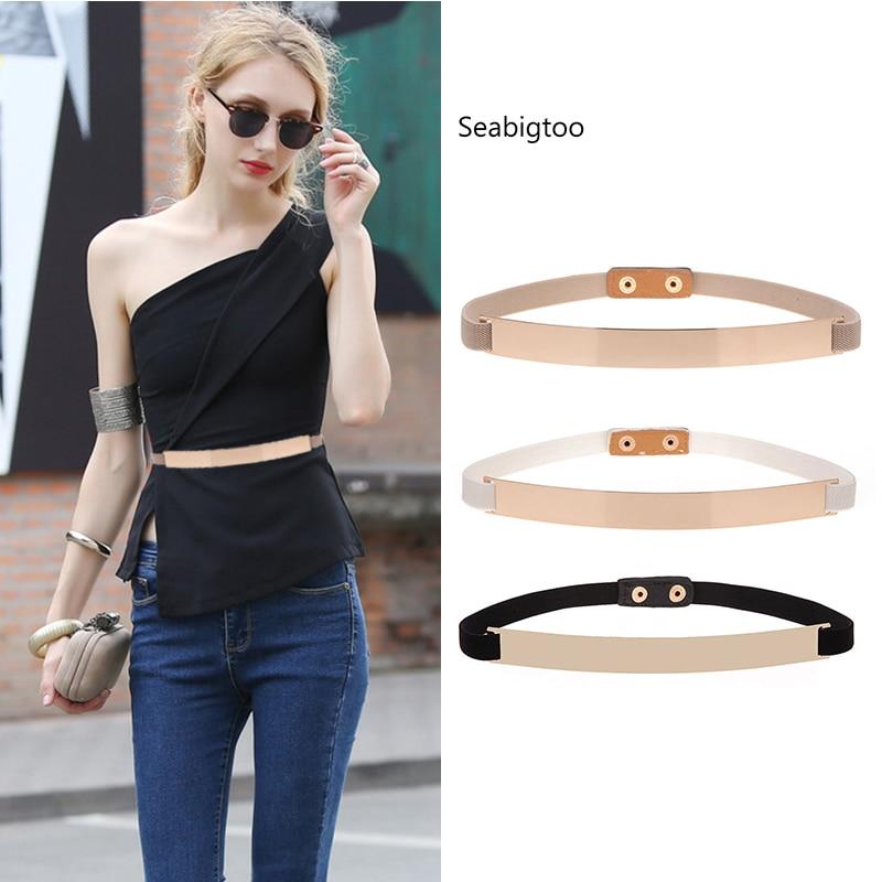 Seabigtoo Gold Plate metal elastic belts for women ladies belts female nude belts waist chain women tops thin belts skinny slim