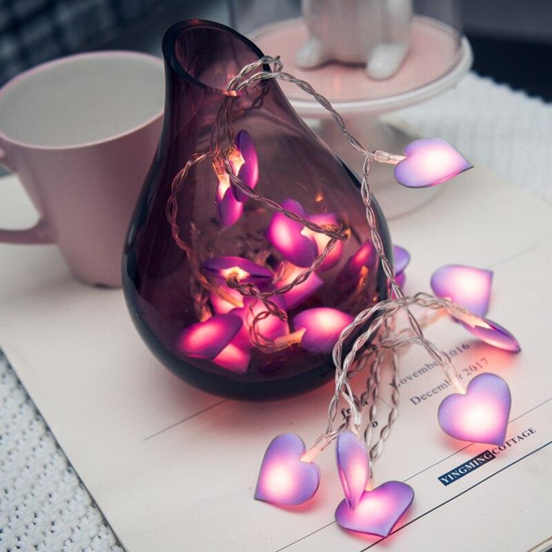 10leds 20leds 40leds amor coração casamento led luzes da corda de fadas lanterna romântico casamento evento festa jardim guirlanda iluminação