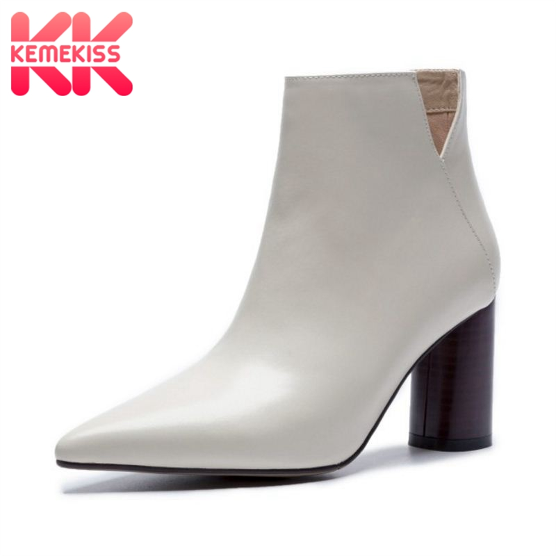 KemeKiss Women Real Leather Ankle Boots Fashion High Heel Boots Office Ladies Sexy Business Designer Shoes Women Size 33 40