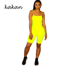 Kakan summer new womens tight jumpsuit fashion sexy sling solid color one-piece tights without belt