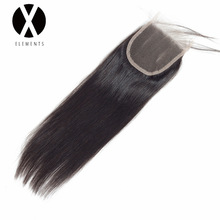 X-Elements Hair 4 * 4 Closure 1 Piece Extensions Mänsklig Straight Non-Remy brasilianskt hår väver naturlig färg